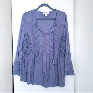 Vintage America Purple Boho Top